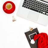 Положение квартиры украшения рождества кофе компьтер-книжки рабочего места офиса Стоковое Изображение