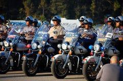 положение полицейскиев мотоциклов Стоковые Фотографии RF