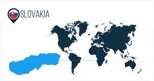 Положение Словакии на карте мира для infographics Все страны мира без имен Флаг круга Словакии в штыре карты или иллюстрация вектора