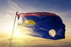 Положение сокола ткани ткани ткани флага Венесуэлы развевая на верхнем тумане тумана восхода солнца стоковое изображение