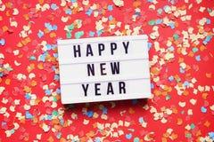 Положение счастливого торжества партии Нового Года плоское с confetti стоковые изображения