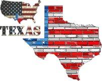 Положение США Техаса на кирпичной стене Стоковое Фото