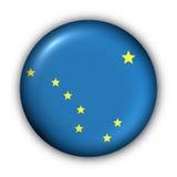 положение США флага кнопки Аляски круглое Стоковое Изображение