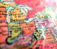 Положение съемки макроса фокуса США карты Огайо на глобусе для блогов перемещения, социальных средств массовой информации, знамен Стоковое Фото