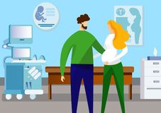 Положение человека и беременной женщины в комнате ультразвука иллюстрация вектора