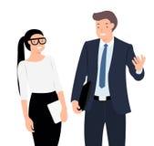 Положение человека и женщины знамени дизайна характера людей мультфильма говоря жизнерадостно бесплатная иллюстрация