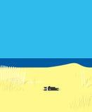Положения кота на песке Стоковые Фотографии RF