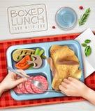 Положенный в коробку обед вручает иллюстрацию иллюстрация вектора