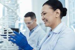 Положительная азиатская женщина изучая модель дна в лаборатории Стоковая Фотография
