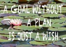 Положительная цитата на предпосылке розовых лилии воды и пусковых площадок лилии стоковая фотография rf