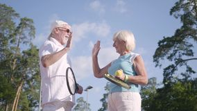 Положительные усмехаясь зрелые пары после игры тенниса на теннисном корте тряся руки и давая высоко 5 Активный сток-видео