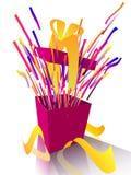 положите взрывая желтый цвет в коробку тесемки подарка Стоковые Изображения