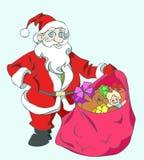 положите его santa в мешки Стоковое Фото