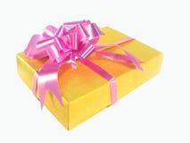 положите желтый цвет в коробку подарка Стоковое Изображение