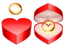 положите кольцо в коробку Стоковая Фотография RF