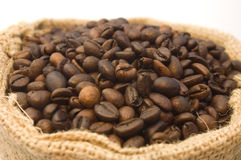 положите кофе в мешки фасолей Стоковое фото RF
