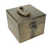 положите кубик в коробку золотистый Стоковое Фото