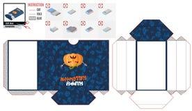 Положите ларец в коробку с голодной тыквой на хеллоуин иллюстрация штока