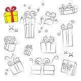 положите подарок в коробку собрания Стоковое Фото