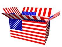 положите флаг в коробку США Стоковая Фотография RF