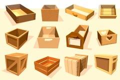 Положите ящики вектора пакета деревянные пустые и упакованные клети в коробку коробок или упаковки с контейнерами crated древесин Стоковые Фотографии RF
