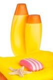 полотенца starfish мыла шампуня цвета Стоковые Фотографии RF