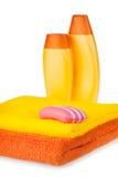 полотенца terry мыла шампуня цвета Стоковое Фото