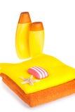 полотенца terry starfish мыла шампуня цвета Стоковое фото RF