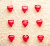 полотенце красного цвета сердец 9 блока Стоковая Фотография RF