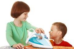 полотно утюга детей Стоковая Фотография RF