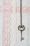 полотно шнурка ткани ключевое естественное Стоковые Изображения RF