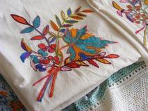 Полотняные товары вышивки винтажные с шнурком Стоковое Фото