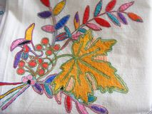Полотняные товары красочной вышивки Стоковые Изображения RF