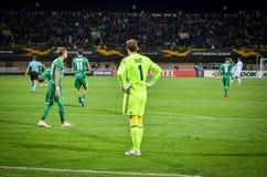 ПОЛТАВА, УКРАИНА - 4-ое октября 2018: Унылый футболист после lo стоковое изображение