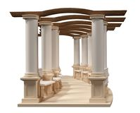 Полукруглая колоннада с переводом стендов 3D на задней части белизны иллюстрация вектора