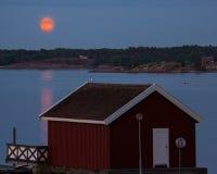 Полуночное Солнце как осмотренное Nøtterøy, Норвегия стоковые изображения