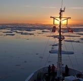 Полуночный Sun - Гренландия Стоковые Фото