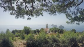 Полуостров Gelidonya маяка весной Красивые ландшафты outdoors в Турции и Азии Ландшафт в видеоматериал