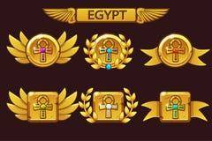 Получать достижение игры мультфильма Египетские награды с золотым перекрестным символом Ankh Для игры, пользовательский интерфейс иллюстрация вектора