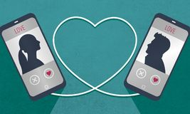 Получают, что знают 2 телефона символически соединенного с кабелем в форме, человеке и женщине сердца один другого в датировка бесплатная иллюстрация
