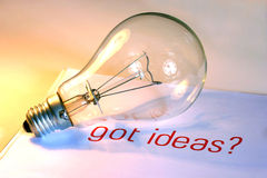 полученный lightbulb идей Стоковое Изображение RF
