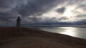 Получившийся отказ маяк Rubjerg Knuhe, Дания сток-видео