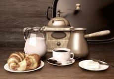 польза кофе предпосылки готовая Белая чашка кофе, шоколад, сливк Стоковая Фотография