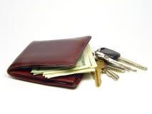 пользует ключом бумажник Стоковая Фотография RF