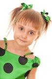полька зеленого цвета девушки платья многоточия Стоковое Фото