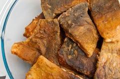 Польская еда рождества зажаренных рыб карпа стоковое фото