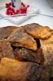 Польская еда рождества зажаренных рыб карпа Стоковые Фото