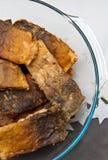 Польская еда рождества зажаренных рыб карпа Стоковая Фотография RF