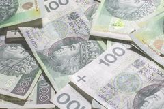 Польская предпосылка денег Стоковые Фотографии RF