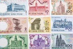 Польские деньги - польская серия городов, предпосылка стоковое фото rf